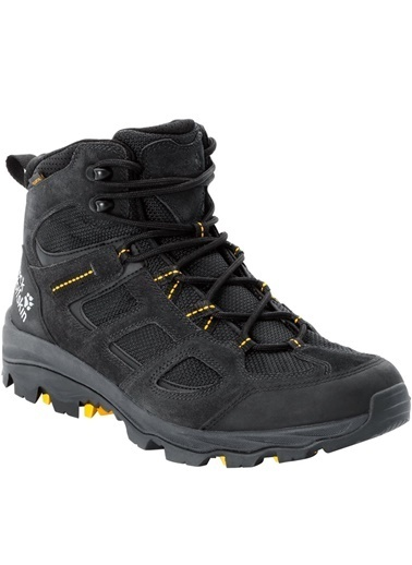 Jack Wolfskin Vojo 3 Texapore Mid Erkek Outdoor Bot Black-Burly Yellow Siyah
